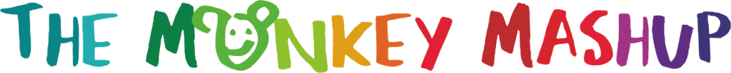 Heading logo for the Monkey Mashup rainbow scribble font