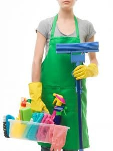 general cleaning supplies including rags, spray cleaners, a mop
